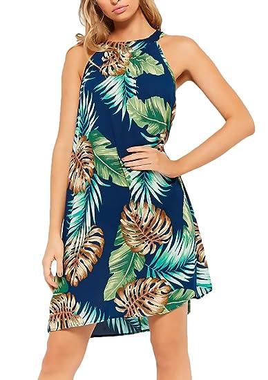 Vestido Playa Mujer Cortos Elegante Sin Mangas Cuello Redondo Vestido Tirantes Señoras Moda Floreadas Anchos Casual