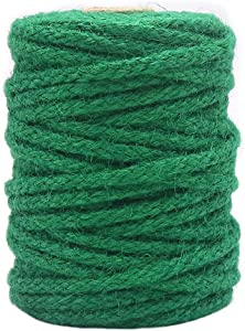 Tenn Well Green Garden Twine, 100 Feet x 5mm Wide Braided Jute Rope for Gardening, Crafting, Packing and Bundling