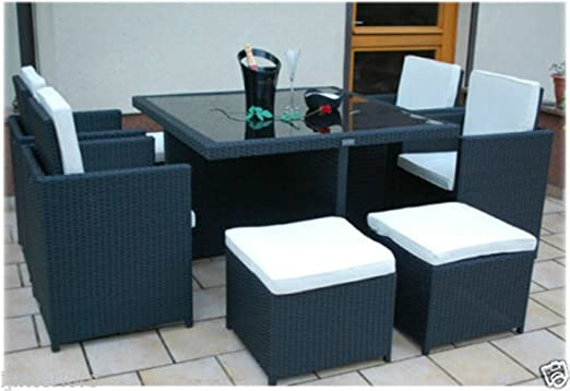 SSITG Juego de mesa y sillas de jardín de mimbre,8 plazas: Amazon.es: Hogar