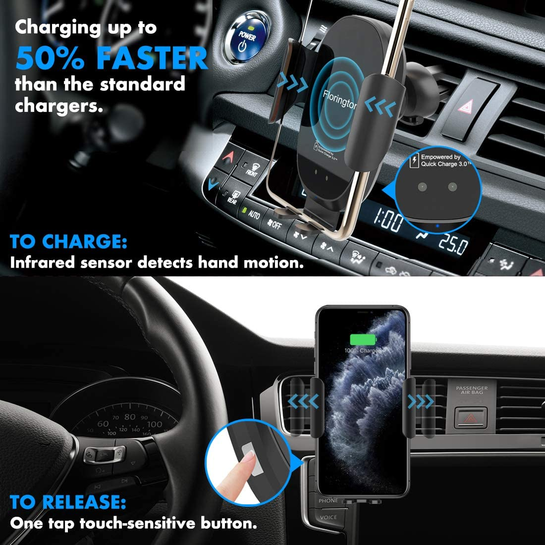 FLORINGTON/Automatic/Infrared/Wireless/Car/Charger,/10W/Fast/Qi/Auto/Clamping/Mount,/Air/Vent/Dashboard Windshield/Phone/Holder Compatible/iPhone/11//11 Pro//Max//SE//Xs