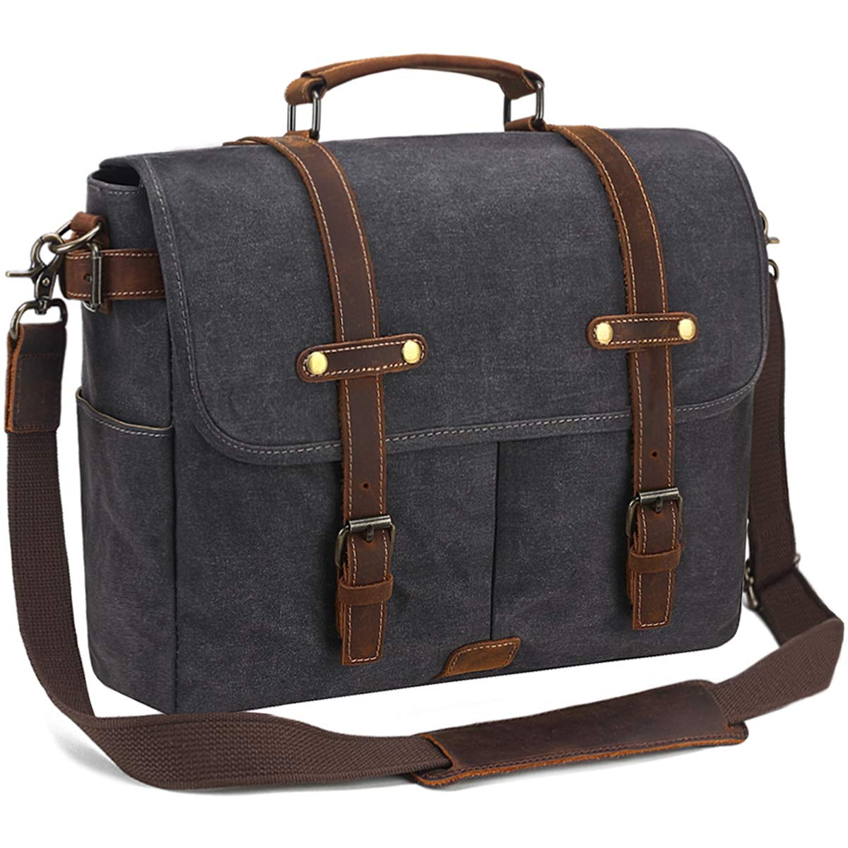 SOAEON Mens Messenger Bag,Laptop Bag 15.6 inch,Waterproof Vintage Canvas Briefcase, Leather Computer Bag for Business&School Travel Grey by SOAEON (Image #2)