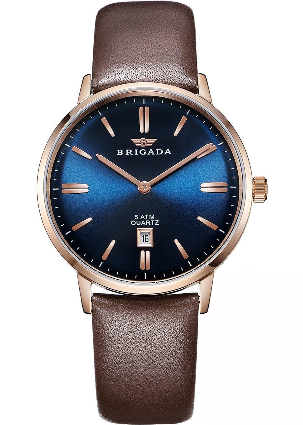 BRIGADA メンズ 腕時計 コーヒー色 ベルト 本革 大人 クオーツ ビジネス シンプル 時計 [並行輸入品]
