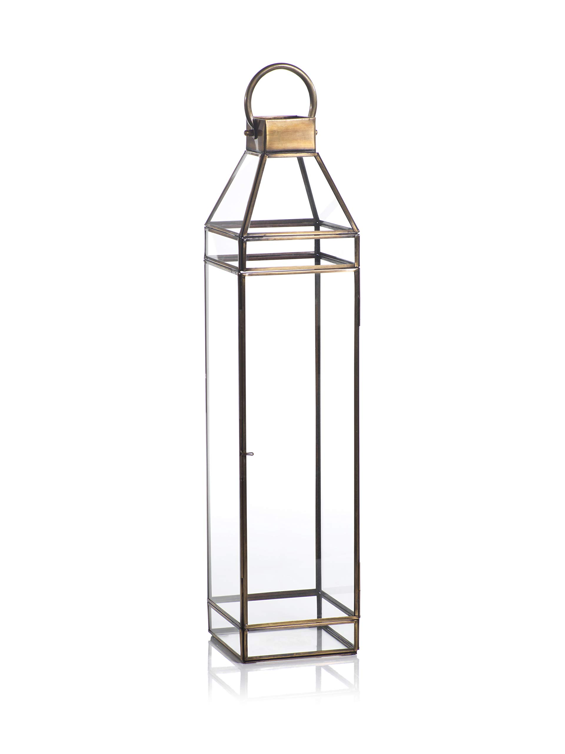 Zodax Martino 25'' Tall Antique Brass Glass Decorative Candle Lantern, XL, Gold