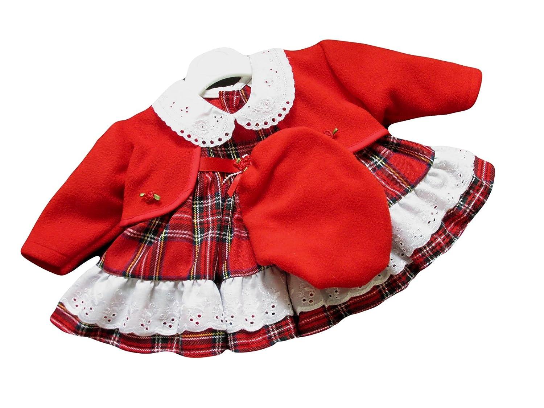 2b5f62b06 Girls Dress Tartan Pattern Red Jacket And Beret Hat (0-3 Months):  Amazon.co.uk: Baby