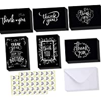Ohuhu Thank You Cards, 48 Thank U Greeting Cards Folded Thank You Blank Note Cards of 6 Designs W/ 48 Envelopes and 48 Stickers for Wedding, Baby Shower, Black and White Chalkboard Thanksgiving Cards