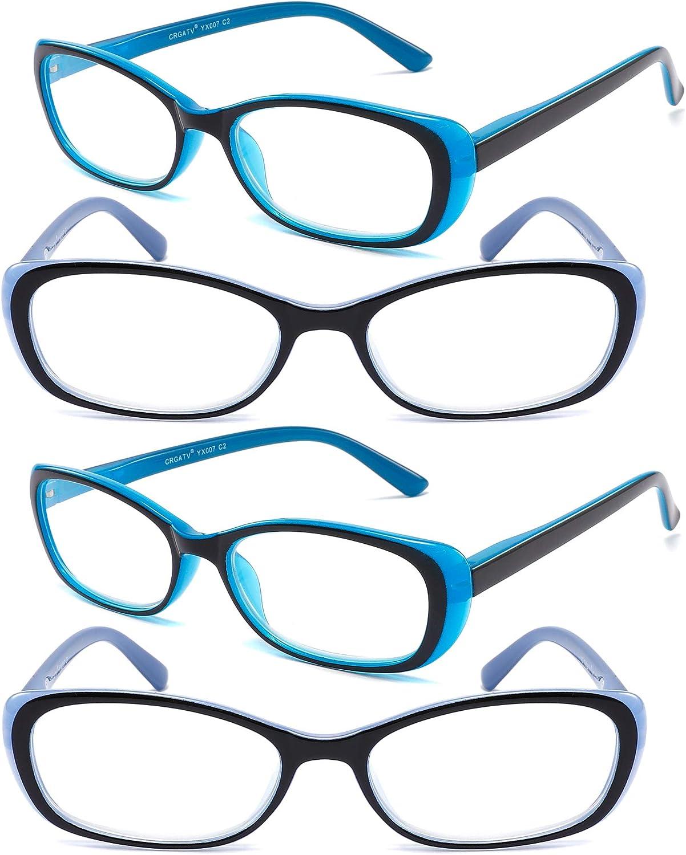CRGATV 4 Pack Reading Glasses Stylish Readers with Spring Hinge for Women