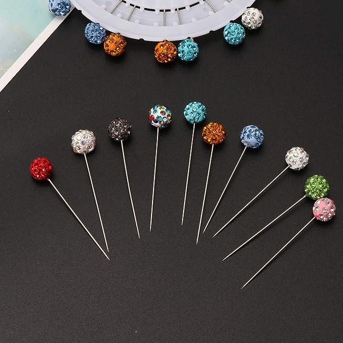 jackyee Brooch Pins for Women-30 Pieces Safety Pin,Muslim Hijab Scarf Pin,Rhinestone Ball Brooch,Straight Head Pin