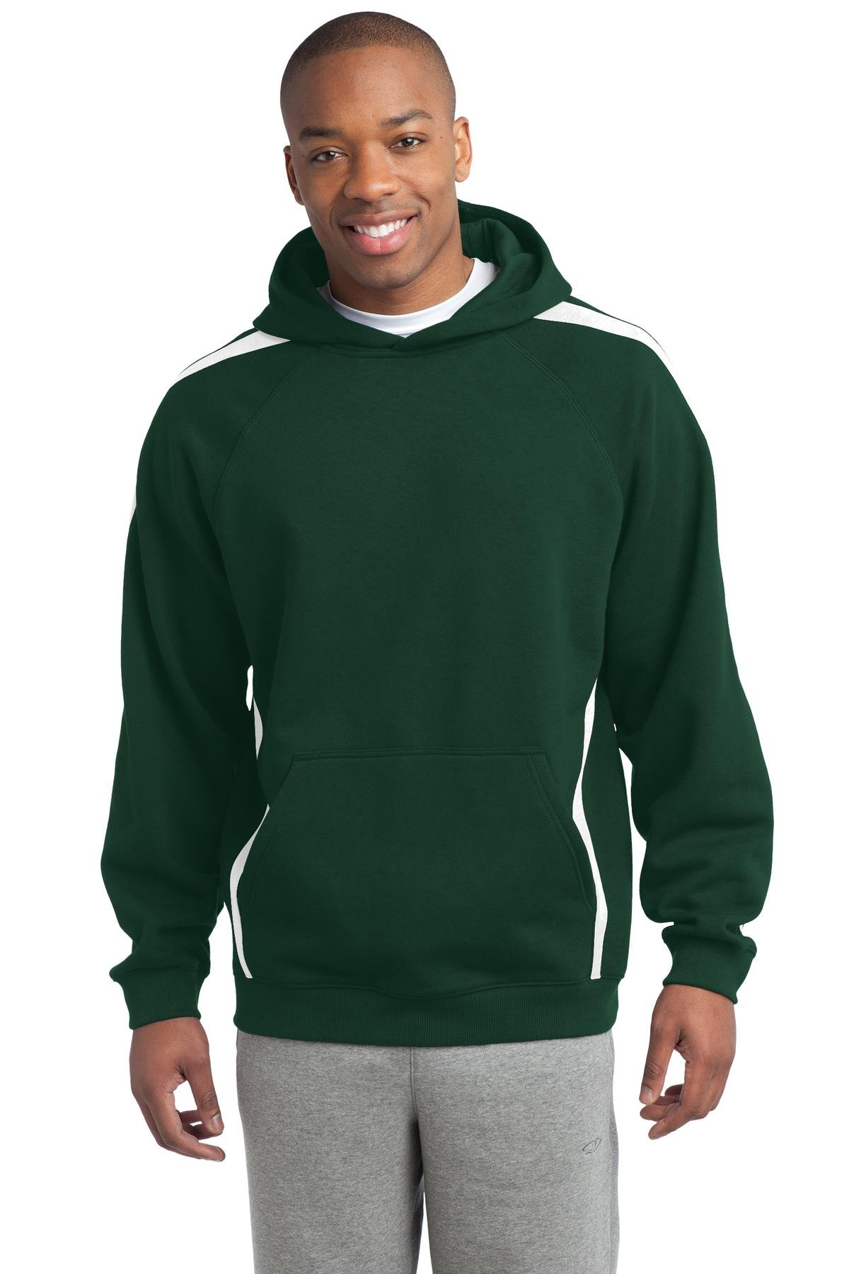 Sport-Tek Men's Sleeve Stripe Pullover Hooded 4XL Forest Green/White by Sport-Tek