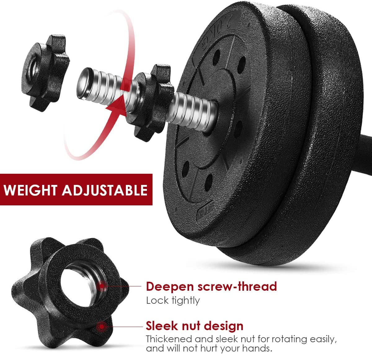 66 LB Weight Dumbbell Set Fitness Adjustable Barbell for Bodybuilding Training