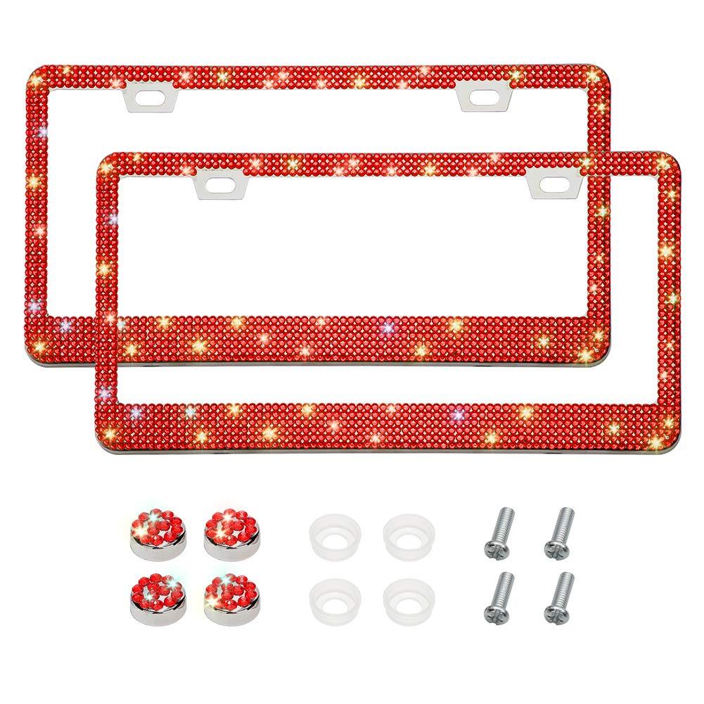 Hot Pink Handmade 6 Rows Rhinestones Stainless Steel License Plate Holder Cover 2 Hole Otostar 2 Pack Bling Bling Car License Plate Frame