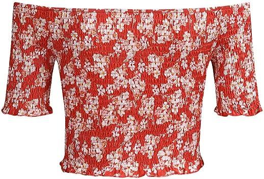 iZZB - Camiseta de Manga Corta para Mujer, con Hombros Altos Rojo ...