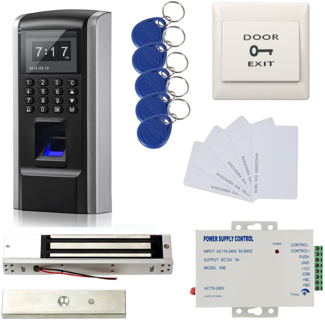 Full Kits Biometric Fingerprint RFID Password Access Control Systems + 600lbs Force Electric EM Magnetic Lock +110V Power Supply+10 Cards and Key Fobs