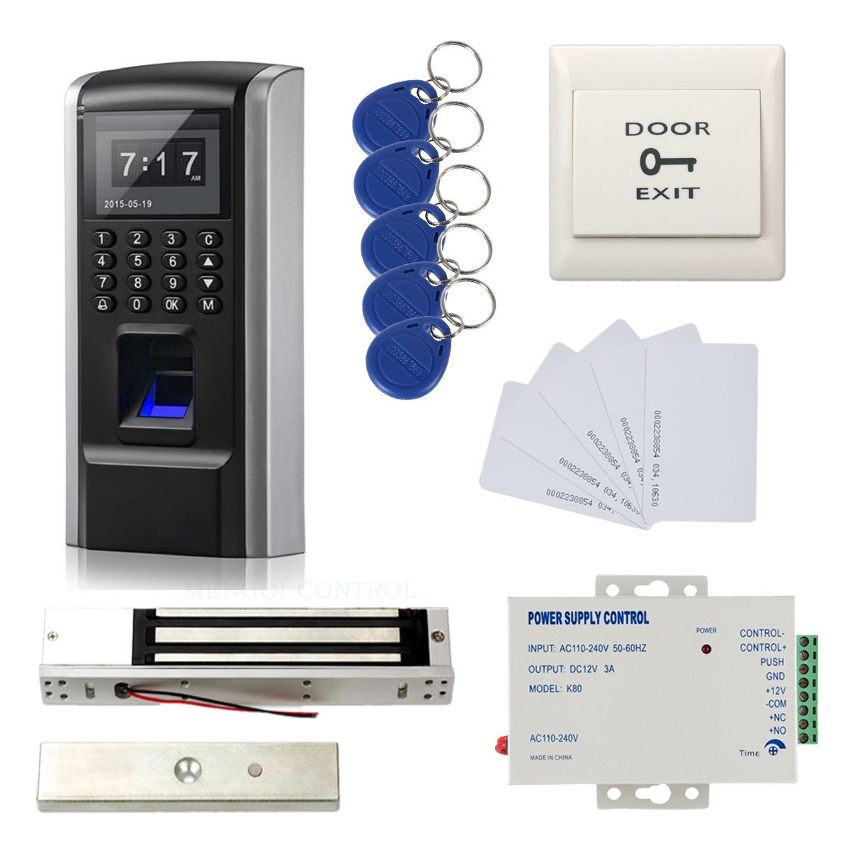 Full Kits Biometric Fingerprint RFID Password Access Control Systems + 600lbs Force Electric EM Magnetic Lock +110V Power Supply+10 Cards and Key Fobs by MENGQI-CONTROL