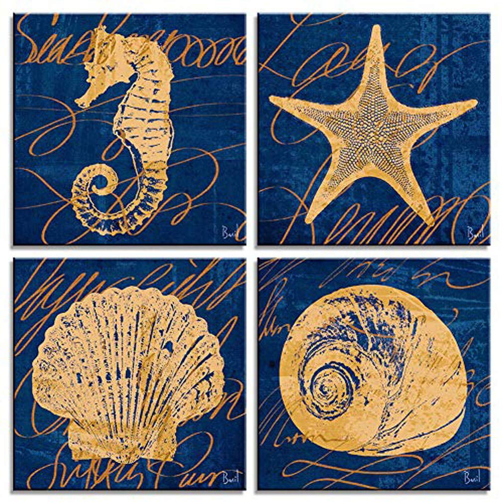 Amosiwallart 4 Pieces Canvas Wall Art with Wooden Frame Navy Blue Canvas Paintings with Black Hooks Undersea Animal World Wall Paintings for Home, Office Decoration (Navy Blue, 12x12inchx4pcs)