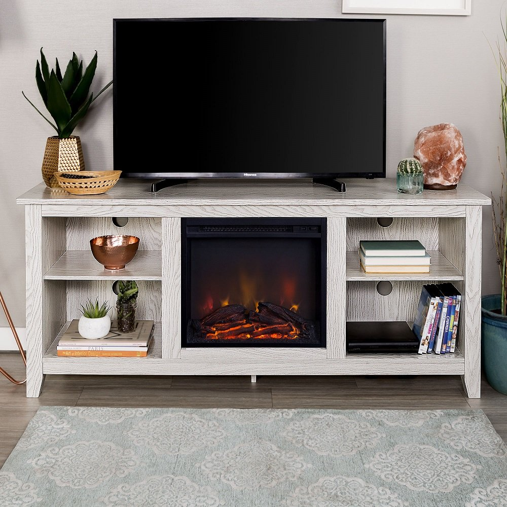 New 58 Inch Wide White Wash Finished Fireplace Television Stand