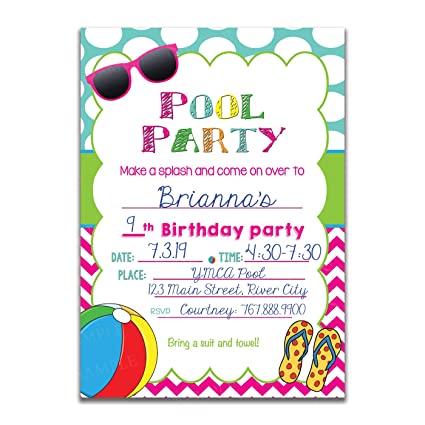 SET OF 25 POOL SWIM PARTY FILL IN KIDS INVITATIONS INCLUDE ENVELOPES