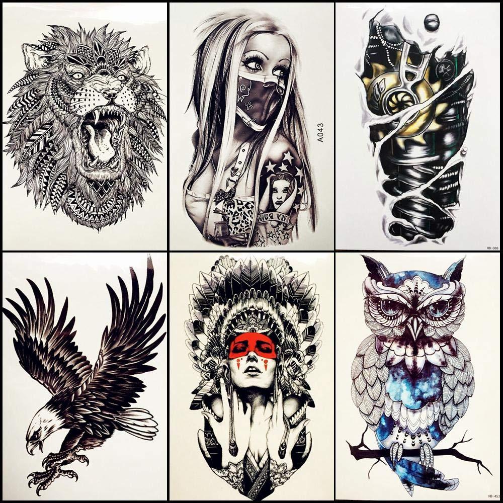 Tatuajes Temporales 6 Unids/Lote Chica Con Máscara Tatuajes ...