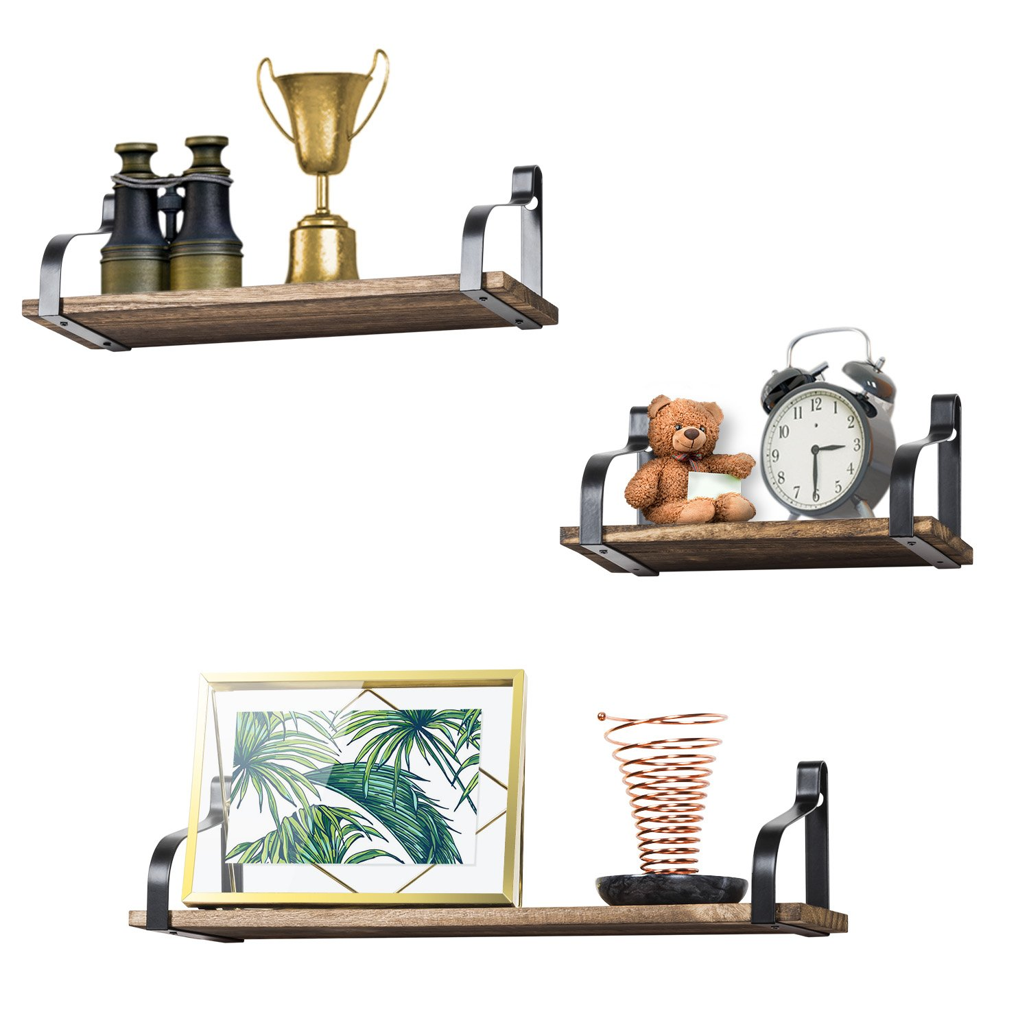 Love-KANKEI Floating Shelves Wall Mounted - Rustic Wood Wall Shelves Set of 3 Bedroom Living Room Bathroom Kitchen