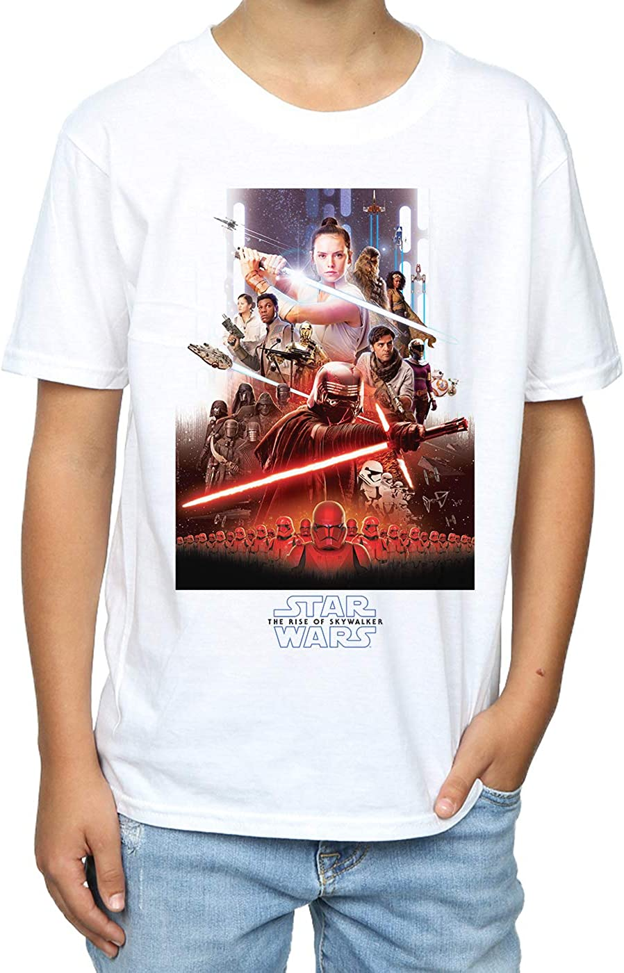 Star Wars Boys The Rise of Skywalker Poster T-Shirt White 5-6 Years
