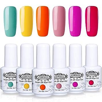 Amazon.com : Perfect Summer Gel Nail Polish - 6 Colors Gel Nail ...