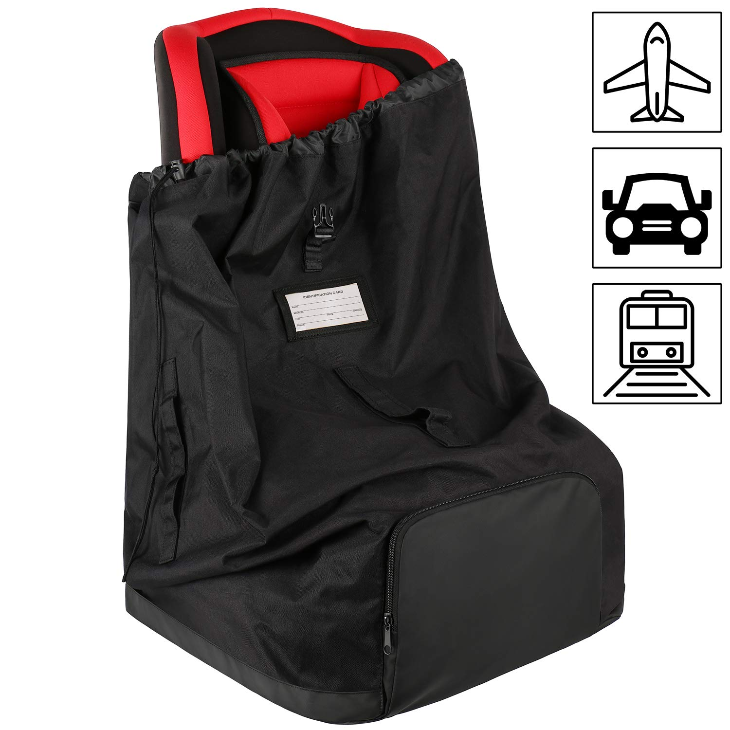 Car Seat Travel Bag, Baby Child Carseat Bags for Air Travel, Durable Ultimate Car Seat Carrier Backpack with Shoulder Straps, Convertible Large Travel Luggage Bag for Airport Gate Check, Black by Mancro