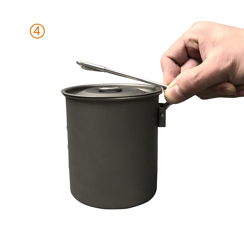 Jolmo Lander Titanium Adventure Cooking Pot with Locking Handle Ultra-light Compact Mug Pot for Camping,Hiking 25oz//30oz