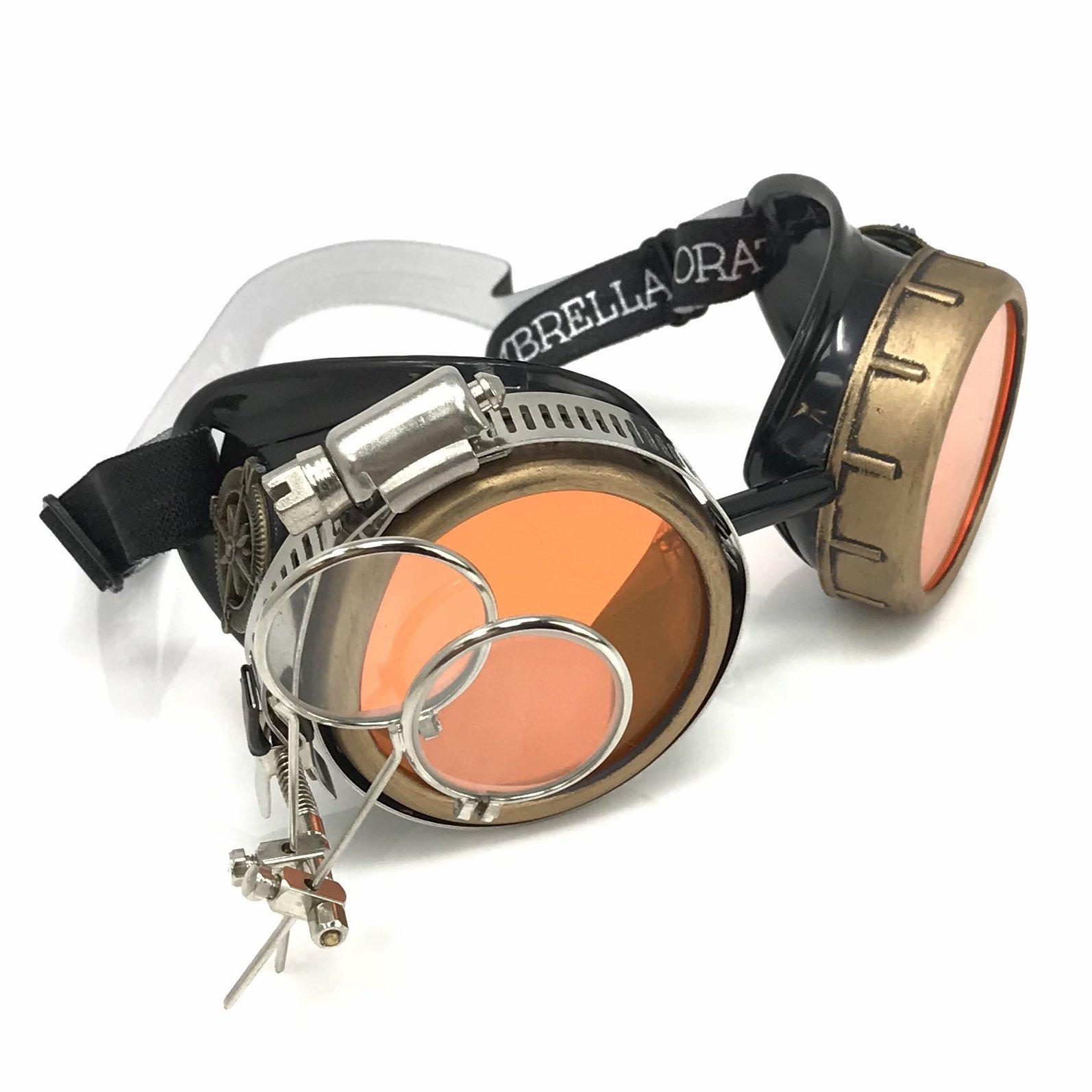 UMBRELLALABORATORY Steampunk Victorian Style Goggles with Compass Design, Neon Orange Lenses & Ocular Loupe