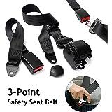 AUDEW Universal Retractable 3 Point Auto Car Safety Seat Lap Belt Set Kit