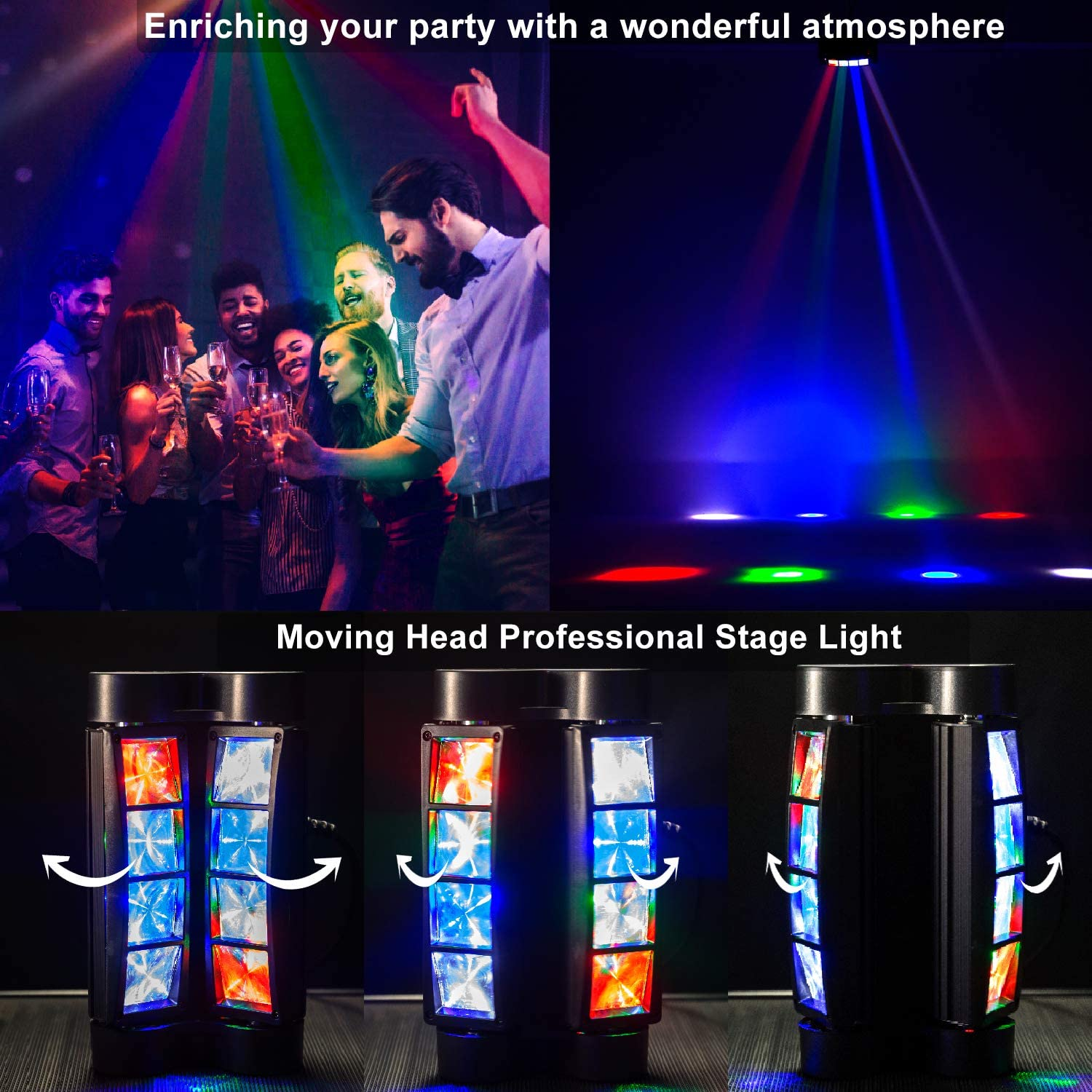 DJ Lights AOELLIT Sound Activated Disco Party Lights RGBW LED Spider Moving Head Stage Lights Compatible with DMX Controller for Indoor Wedding Dance Birthday Event Parties