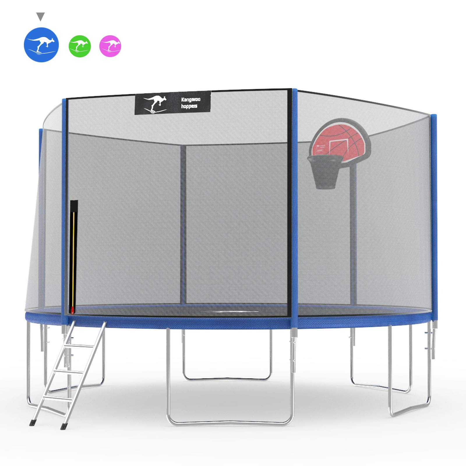 Kangaroo Hoppers Trampoline with Safety Enclosure,Jumping Mat,Ladder and Spring Cover Padding,12 15 FT Available,Multiple Color Choices, TUV and ASTM Tested, Best Outdoor Gift for Kids(Blue, 12FT)