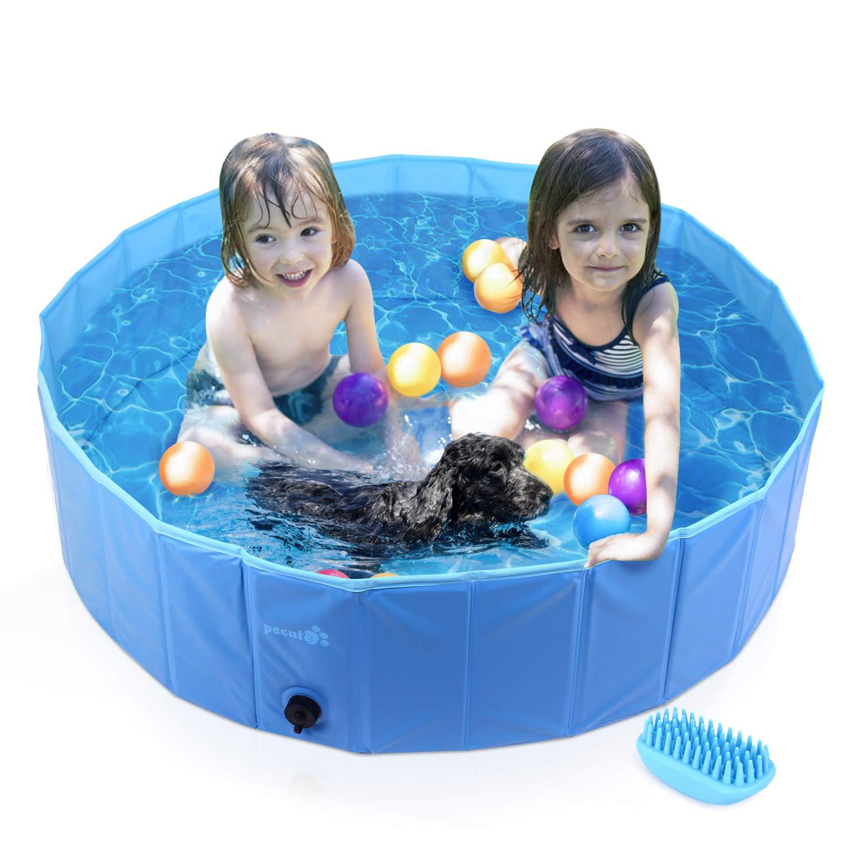 Pecute Piscina para Mascotas, bañera Plegable, Material PVC, Antideslizante y Resistente al Desgaste (M:120cm*30cm)