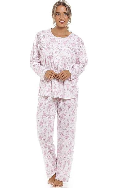 Camille - Conjunto de pijama largo - Estampado floral Rosa - Blanco 38/40