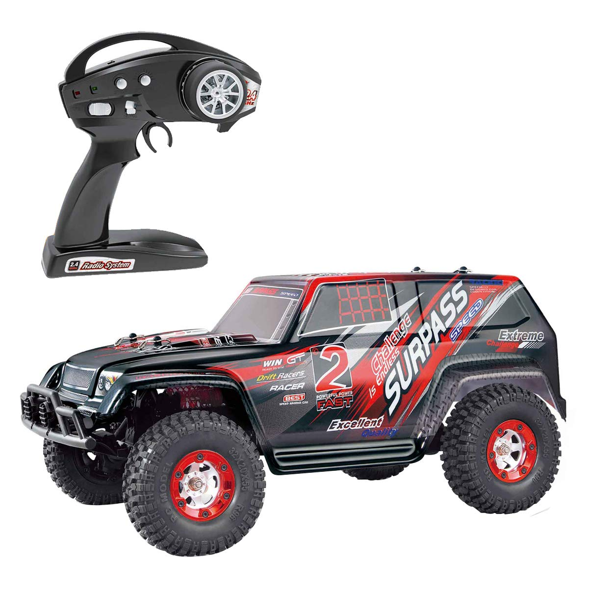 Yling RCクローラーRTR 1/12スケール4wdオフロードモンスタートラックロッククローラー4x4高速RCカーSUGバギー2.4Ghzラジオ (レッド) B07HRTZHPF レッド