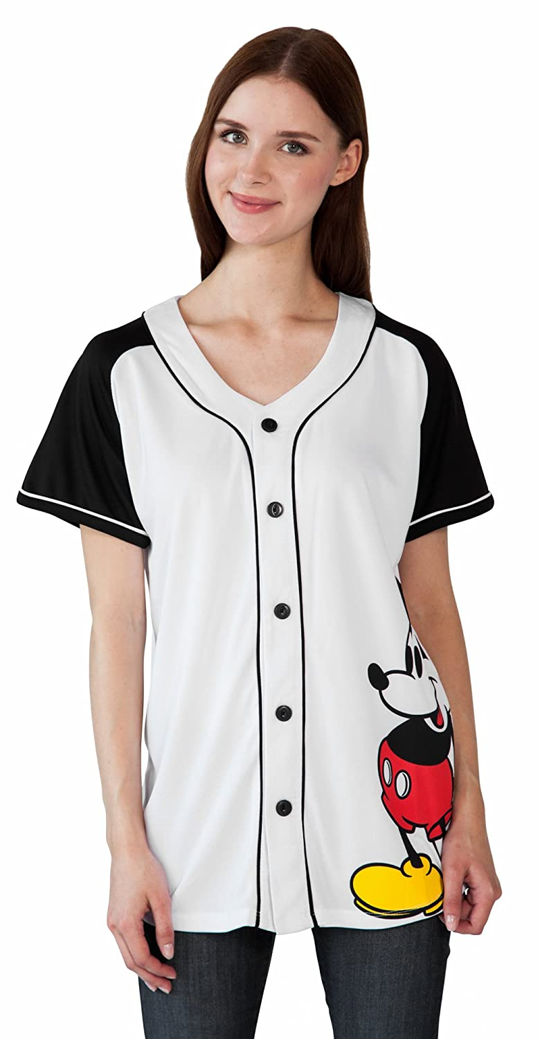 1474bffe2e7 Amazon.com: Disney Mickey Minnie Mouse Woman's Jersey Shirt Button Front  Print Back 28: Clothing