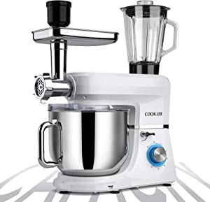 COOKLEE 6-IN-1 Stand Mixer, 9.5 Qt. Multifunctional Electric Kitchen Mixer with 9 Accessories for Most Home Cooks, SM-1507BM, Pure White
