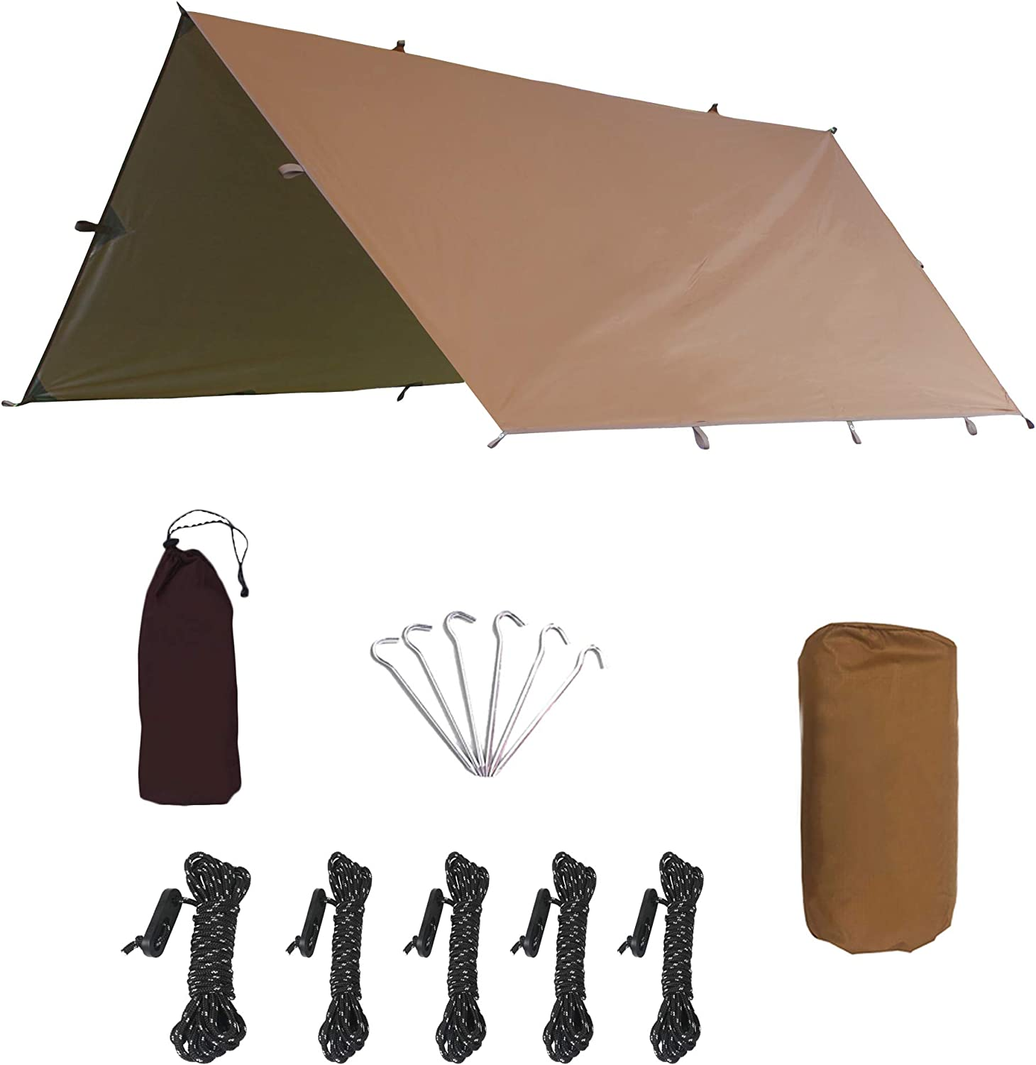 Camping Tent Tarp Shelter 3m x 3.2m//4m x 4m//4.5m x 5.5m Lightweight Waterproof Windproof PU3000mm Anti UV with 6 Aluminium Stakes 5 Ropes and Carrying Bag for Snow Sunshade for Camping Outdoor Travel