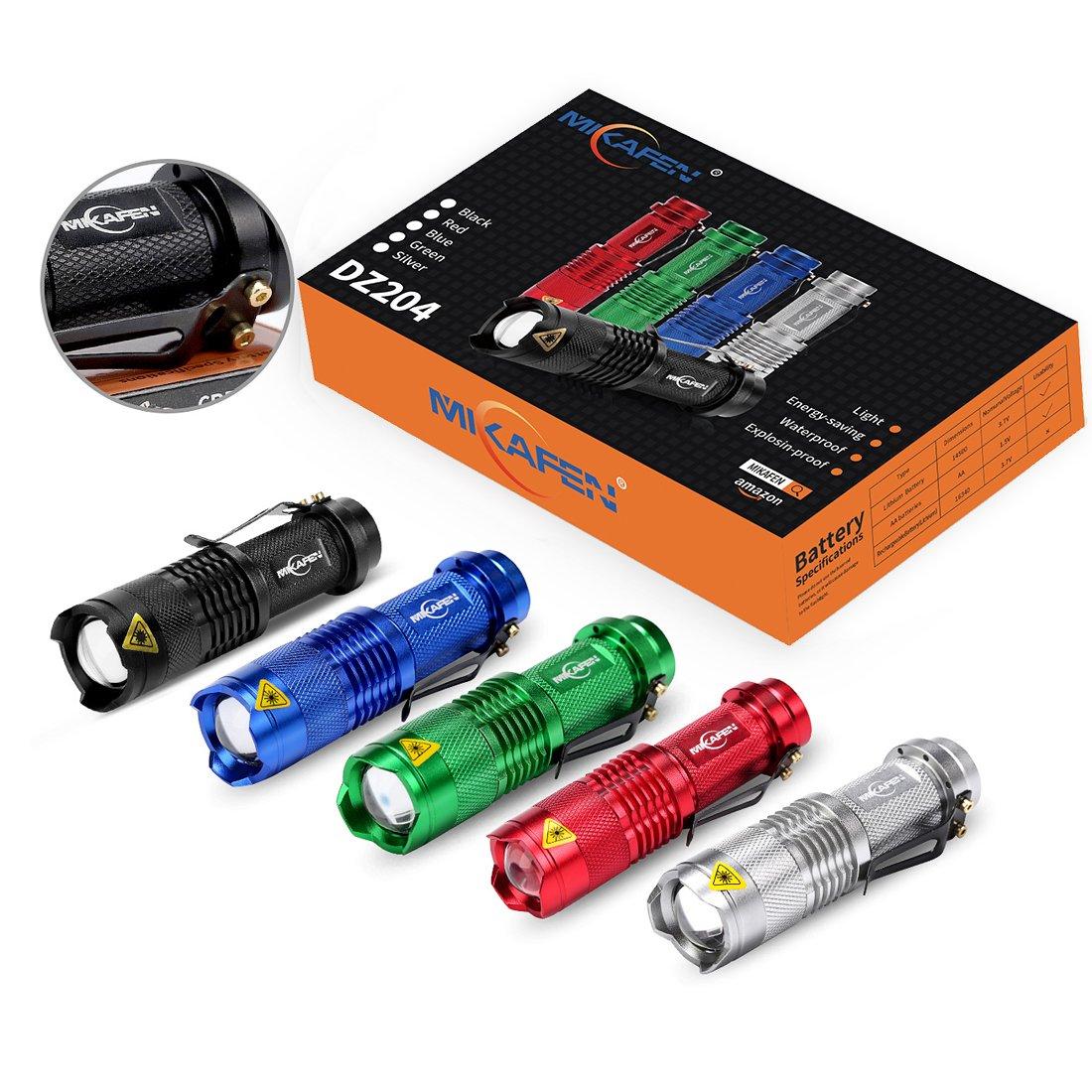 5 St/ück Mini Cree Q5 Led Taschenlampe Torch 300 Lumen 3 Modi Licht - Low-Light - Strobe einstellbarer Fokus zoombare Led