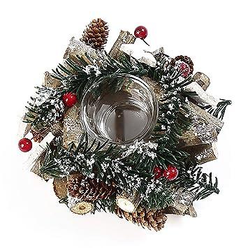 COOFIT Vela de Navidad Soporte Retro Guirnalda Decoración ...