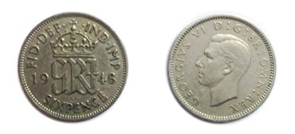 Coins for collectors - Circulated British 1948 George VI Sixpence / Six  pence 6p Coin / Great Britain