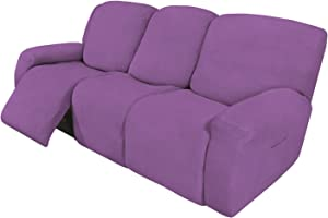 Easy-Going 8 Pieces Recliner Sofa Stretch Sofa Slipcover Sofa Cover Furniture Protector Couch Soft with Elastic Bottom Kids, Spandex Jacquard Fabric Small Checks Purple