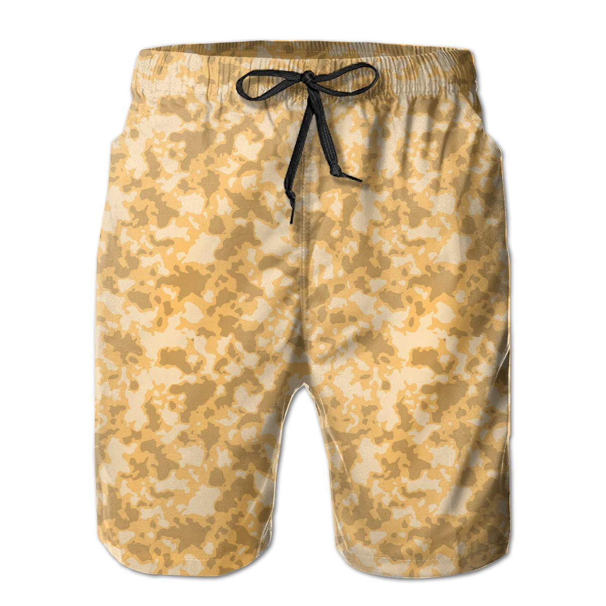 APPCLL Fashion Swim Trunks Mens Board Shorts Camouflage with Mosaic Orange Quick Dry Shorts