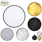 60CM Portable Light Reflector with Collapsible Round Multi Disc for Photography Studio Photo Camera, Foldable Lighting reflector Diffuser Kit with Carrying bag - Translucent,Silver,Gold,White,Black