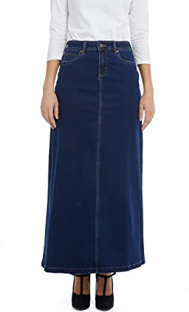NEW Womens Full Length Blue Long Button Up Denim Maxi Skirt Size 8 10 12 14 16