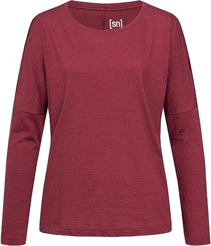 Farbe: Hellrot meliert Mit Merinowolle super.natural Damen Langarm Shirt Gr/ö/ße: S W JONSER LS