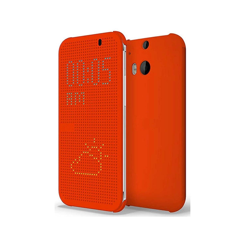 Funda One M8, Ordica ES®, Carcasa HTC One M8 con Tapa a Libro [Dot View Compatible] Case Slim Resistente Case Accesorios Anti Golpes, Color Naranja -