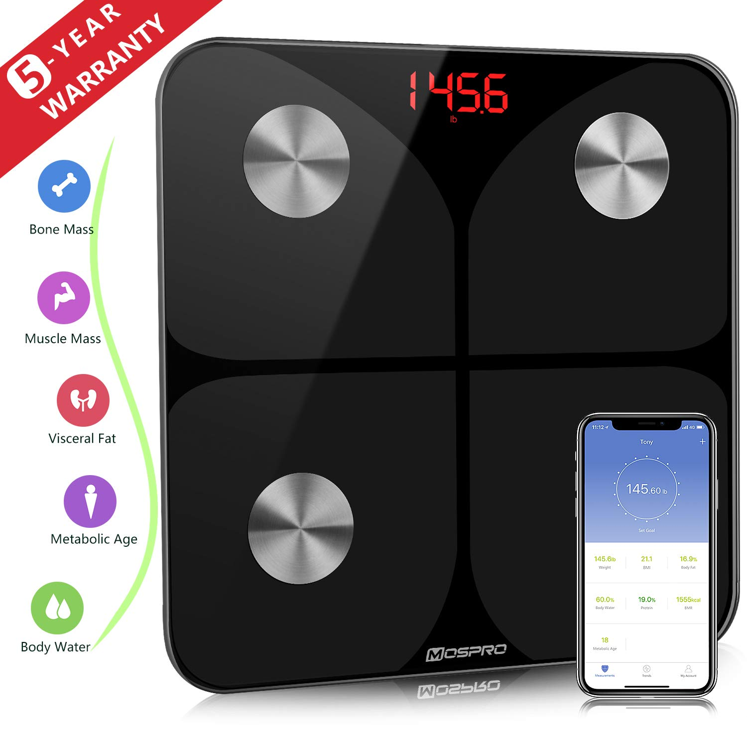 Smart Body Fat Weight Scale - Digital Bathroom BMI Scale Wireless Body Composition Analyzer Health Monitor with iOS and Android App for Body Weight Fat Water BMR and More
