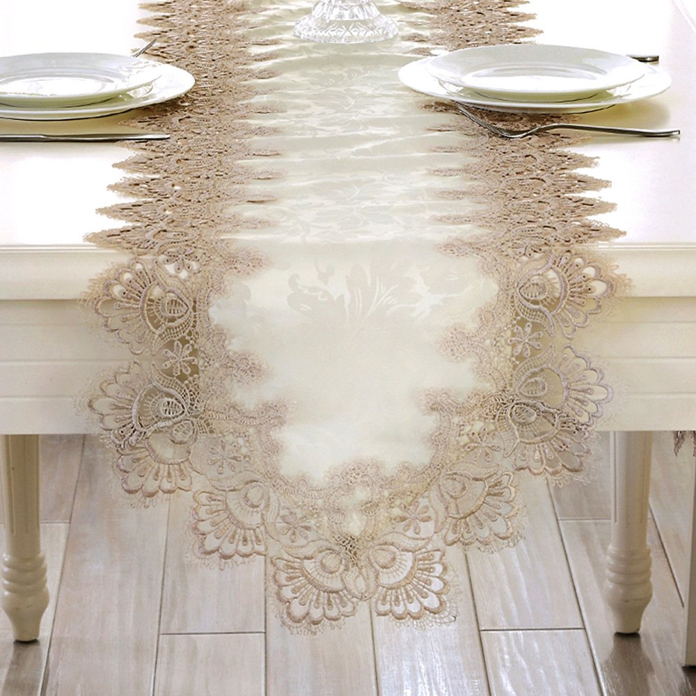 KEPSWET Beige Polyester Lace Flouncing Table Runner, 16 x 108 inch, Summer Hotel Livingroom Diningroom Wedding Home, Party Banquet Dining Tea Decorations Diningroom