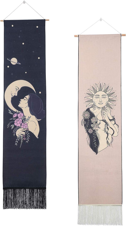Sun and Moon Tapestry Wall Hanging ,Aesthetic Mysterious Art Girl Flower Long Tassel Tapestries for Living Room/Bedroom/Home Decor