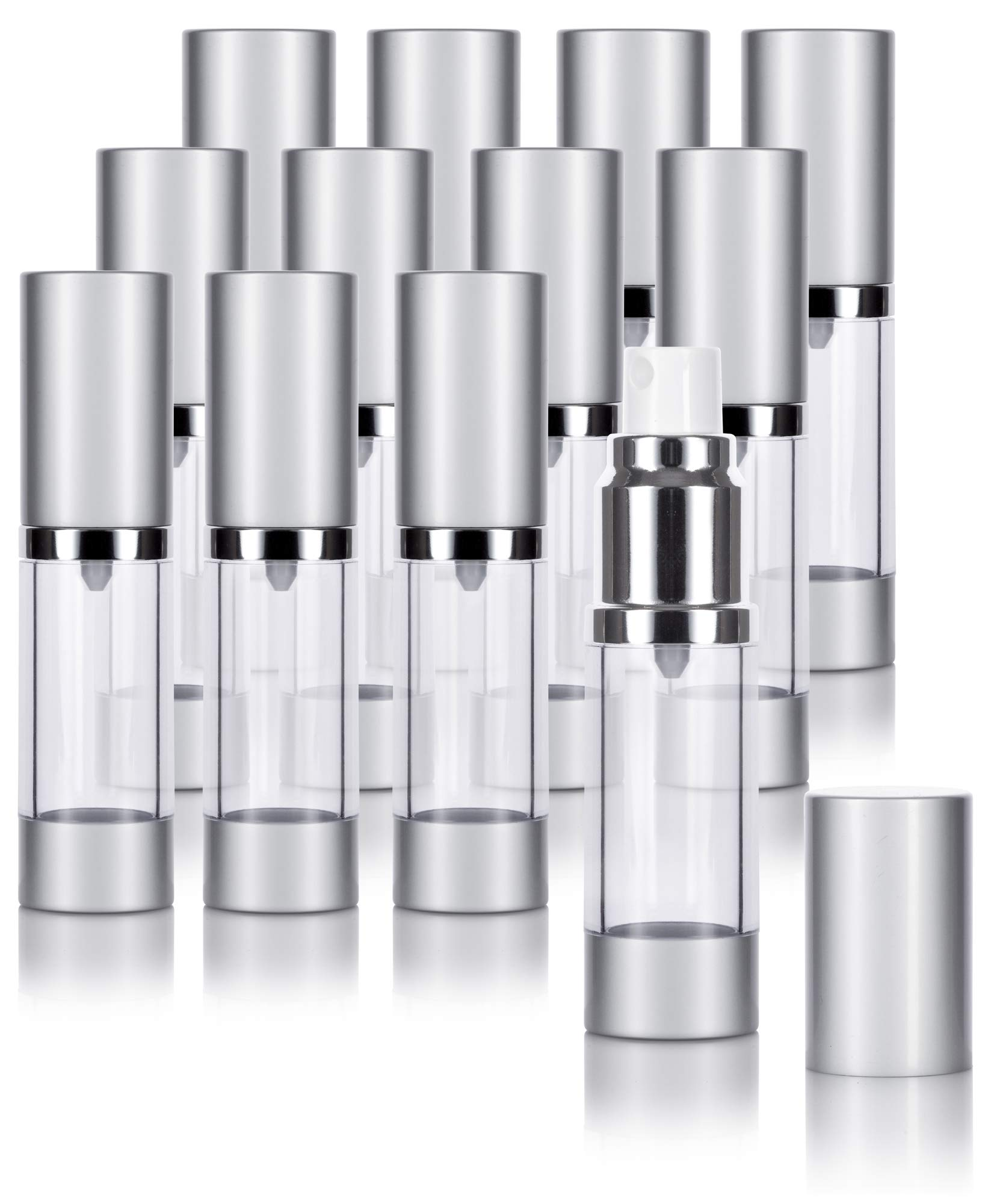 Airless Spray Bottle Silver Matte 0.5 oz. (12 Pack)