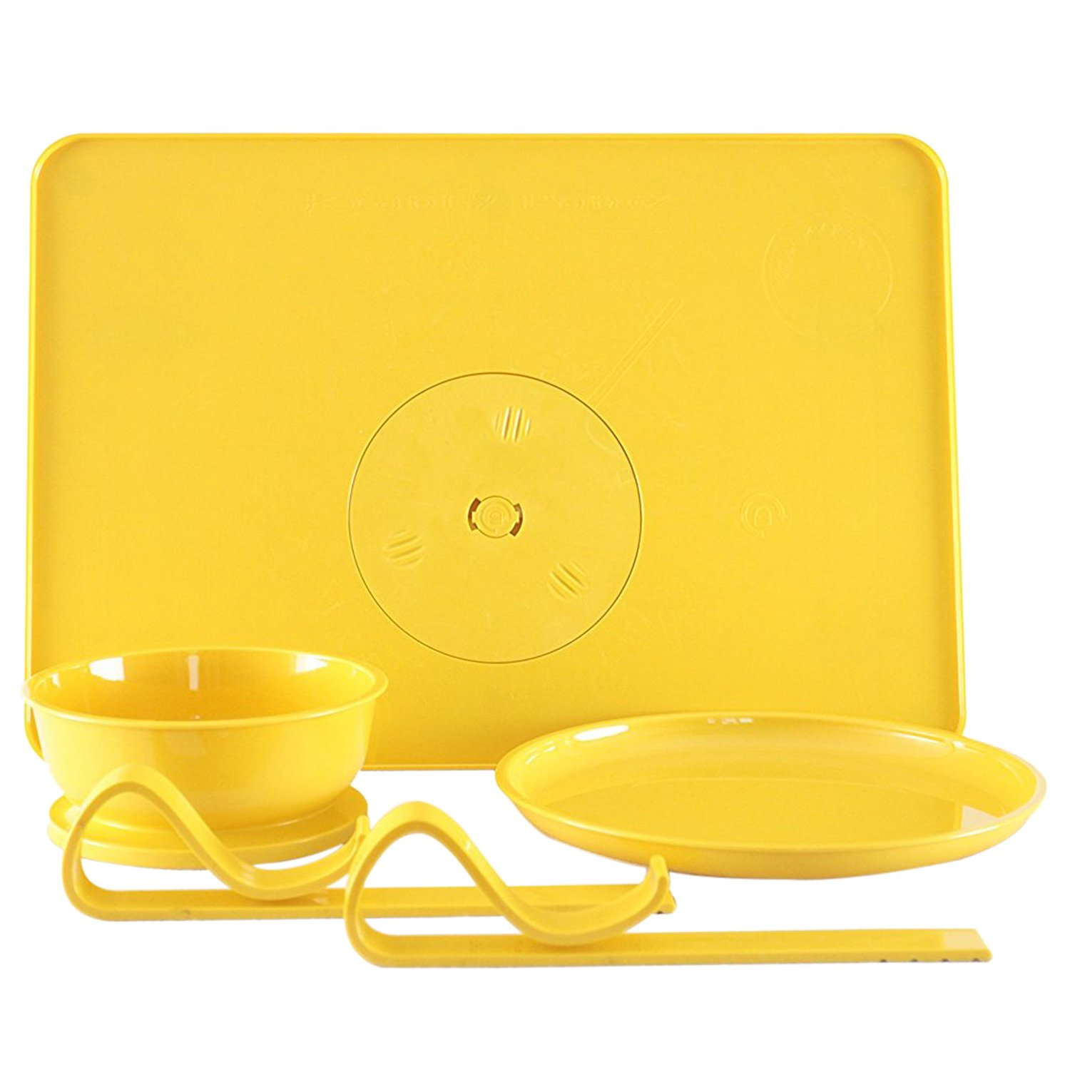 Locking Bowl & Plate With Tray Stay Put Dining Set - Tray Locks to Table - Bowl & Plate Locks to Tray, Yellow by Kranky Pantz, Inc   B01D7Q49ZU